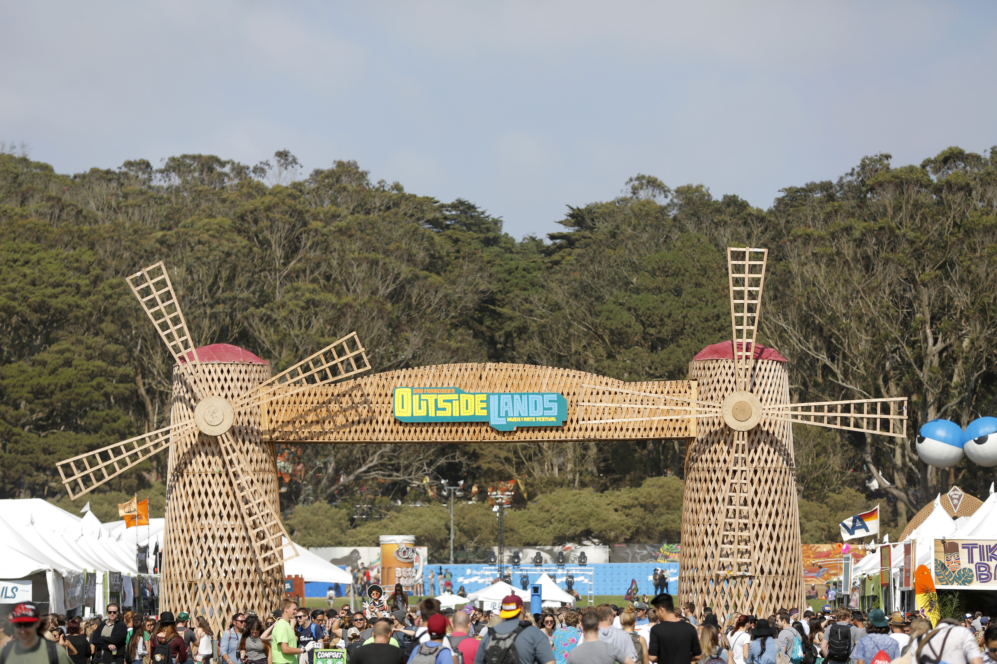 Windmills at Outside Lands music festival in San Francisco , California, on Friday, Aug. 7, 2015.